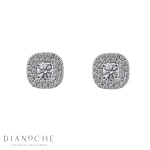Square halo earrings white gold