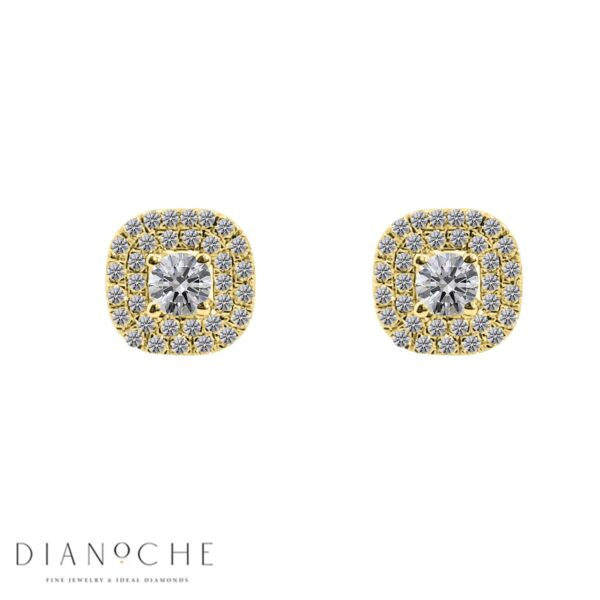 Square halo earrings yellow gold