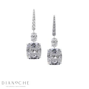 Cushion cut drop earrings white gold