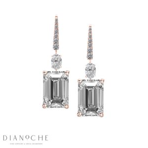 Emerald cut diamond earrings rose gold
