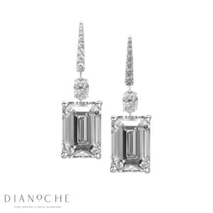 Emerald cut diamond earrings white gold