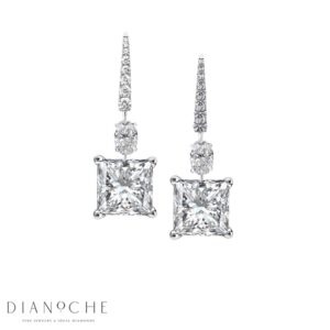 Drop diamond earrings white gold