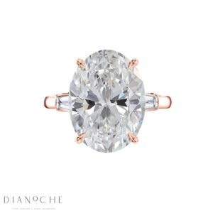 3 stone oval diamond ring rose gold
