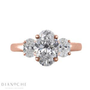 Three stone oval diamond diamond ring rose gold