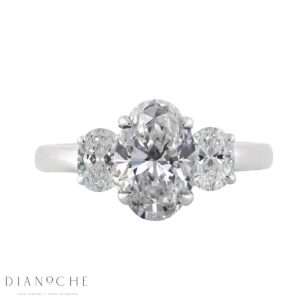Three stone oval diamond diamond ring white gold