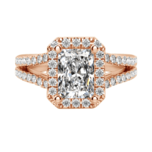 Radiant cut diamond ring with halo rose gold