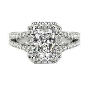 Radiant cut diamond ring with halo white gold