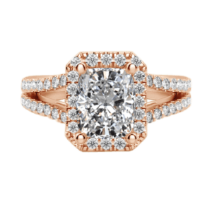 Cushion cut diamond ring with halo rose gold