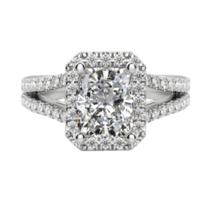 Cushion cut diamond ring with halo white gold