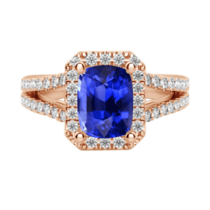 Cushion cut halo sapphire diamond ring rose gold