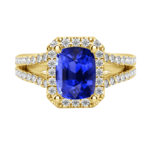 Cushion cut halo sapphire diamond ring yellow gold