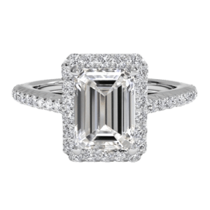 3 carat emerald cut halo diamond ring white gold