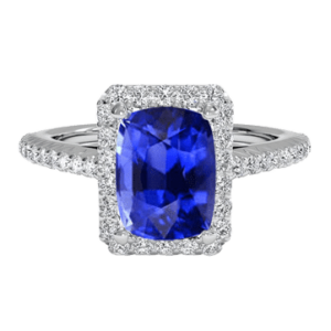 Cushion cut blue sapphire halo diamond ring white gold