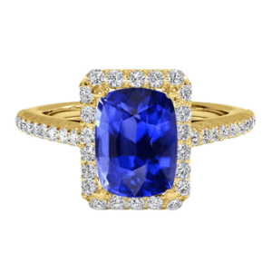 Cushion cut blue sapphire halo diamond ring yellow gold