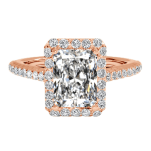 2 carat radiant cut ring rose gold