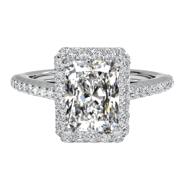 2 carat radiant cut ring white gold