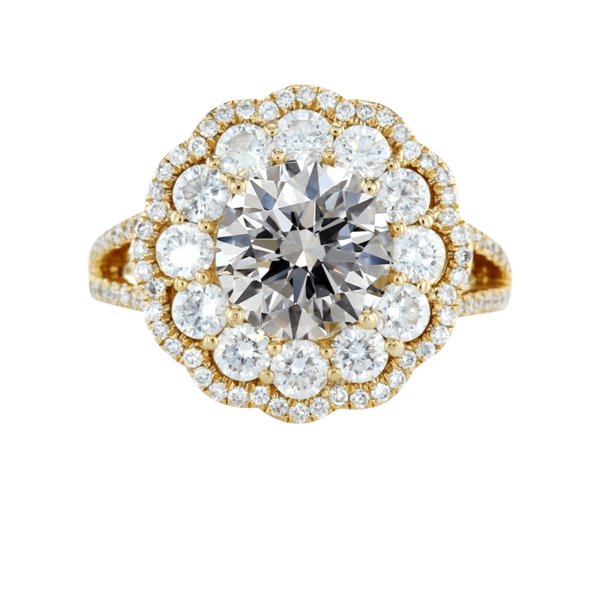 Vintage floral halo diamond ring yellow gold