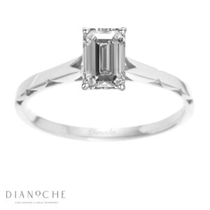 One diamond ring emerald cut white gold