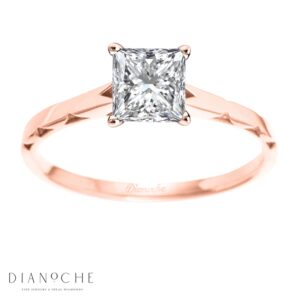 One diamond ring princess cut rose gold