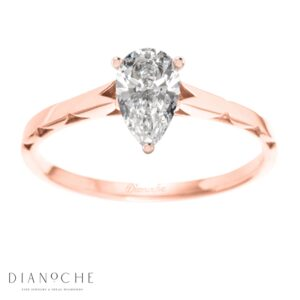 One diamond ring pear shaped rose gold