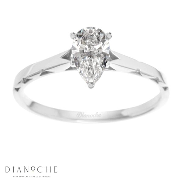 One diamond ring pear shaped white gold