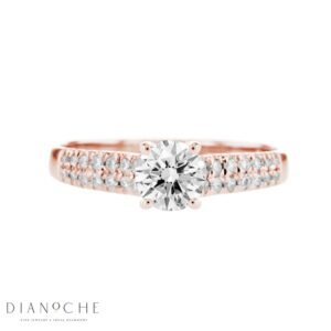 Wide Sidestones Round Diamond Ring rose gold