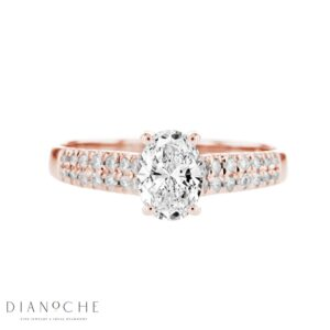 Wide Sidestones Oval Diamond Ring rose gold