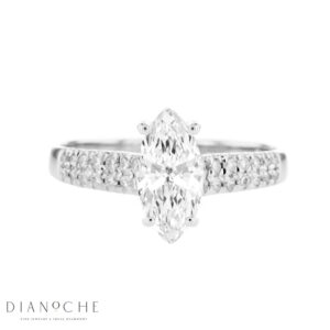 Wide Sidestones Marquise Diamond Ring white gold
