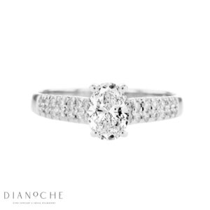 Wide Sidestones Oval Diamond Ring white gold