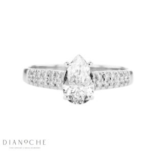 Wide Sidestones Pear Shape Diamond Ring white gold