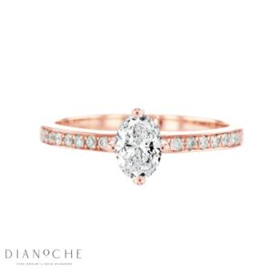 Side stones oval diamond ring rose gold