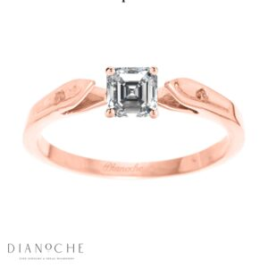 Dainty diamond ring asscher cut rose gold