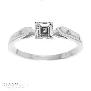 Dainty diamond ring asscher cut white gold