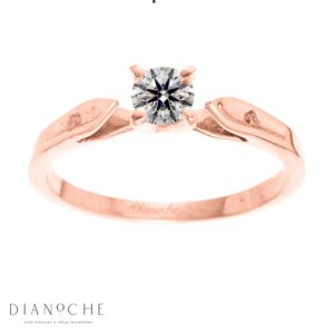 Dainty diamond ring round diamond rose gold