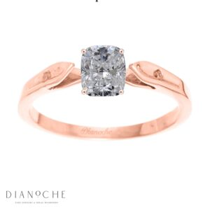 Dainty diamond ring cushion cut rose gold