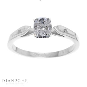 Dainty diamond ring cushion cut white gold