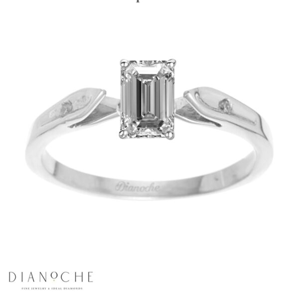Dainty diamond ring emerald cut white gold