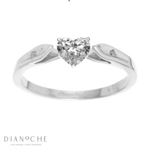 Dainty diamond ring heart shape white gold