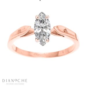 Dainty diamond ring marquise cut rose gold