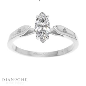 Dainty diamond ring marquise cut white gold