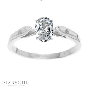Dainty diamond ring oval diamond white gold