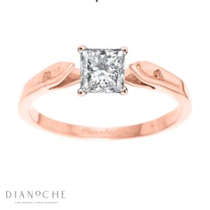 Dainty diamond ring princess cut rose gold
