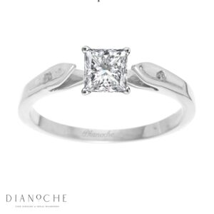 Dainty diamond ring princess cut white gold