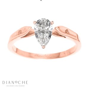 Dainty diamond ring pear shaped rose gold