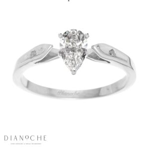 Dainty diamond ring pear shaped white gold
