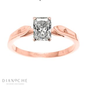 Dainty diamond ring radiant diamond rose gold