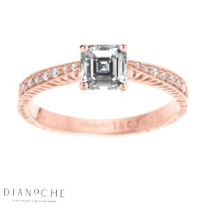 Asscher diamond ring with side stones rose gold