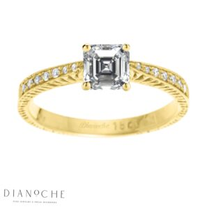 Asscher diamond ring with side stones yellow gold