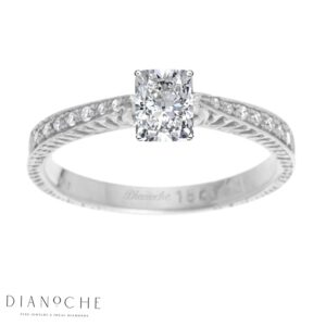 Cushion diamond ring with side stones white gold