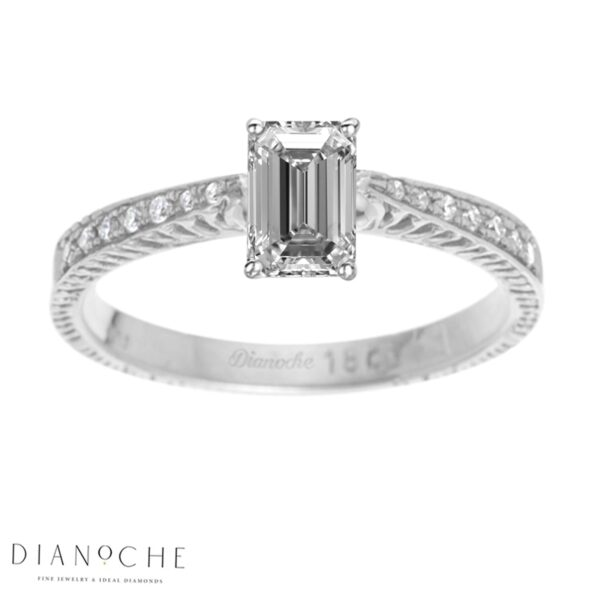 Emerald Diamond ring with side stones white gold